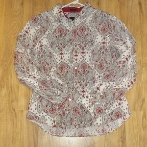 Red Paisley LS Button Down